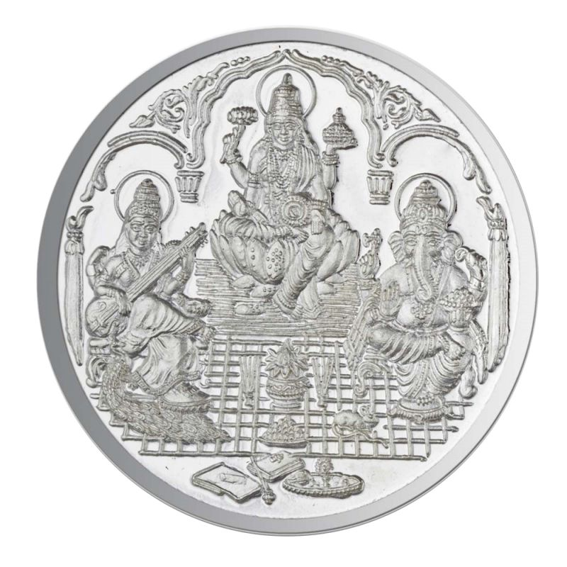 Buy Jpearls 50 Grams Saraswathi Ganesh And Lakshmi Silver Coin 99.9 % Purity online