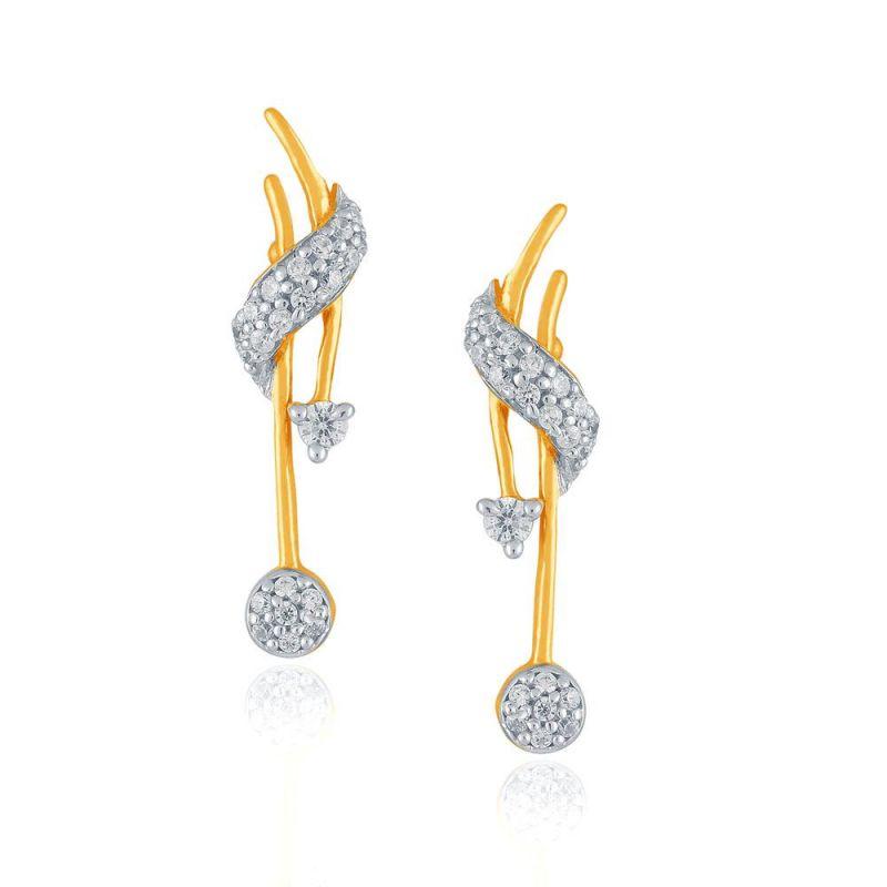 Buy Nirvana Yellow Gold Diamond Earrings Yel049si-jk18y online