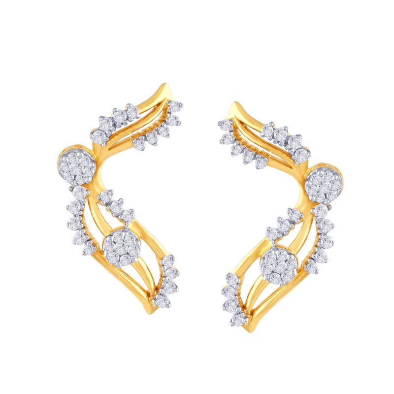 Buy Nirvana Yellow Gold Diamond Earrings Pe14634si-jk18y online