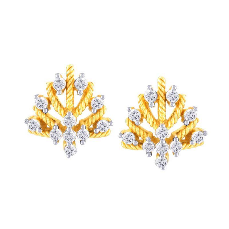 Buy Sangini Yellow Gold Diamond Earrings Ye253si-jk18y online