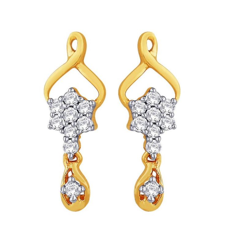 Buy Shuddhi Yellow Gold Diamond Earrings Ide00464si-jk18y online