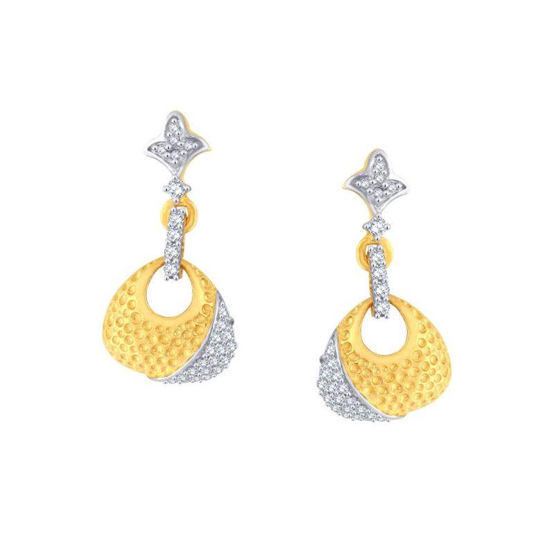 Buy Nirvana Yellow Gold Diamond Earrings Oe718si-jk18y online