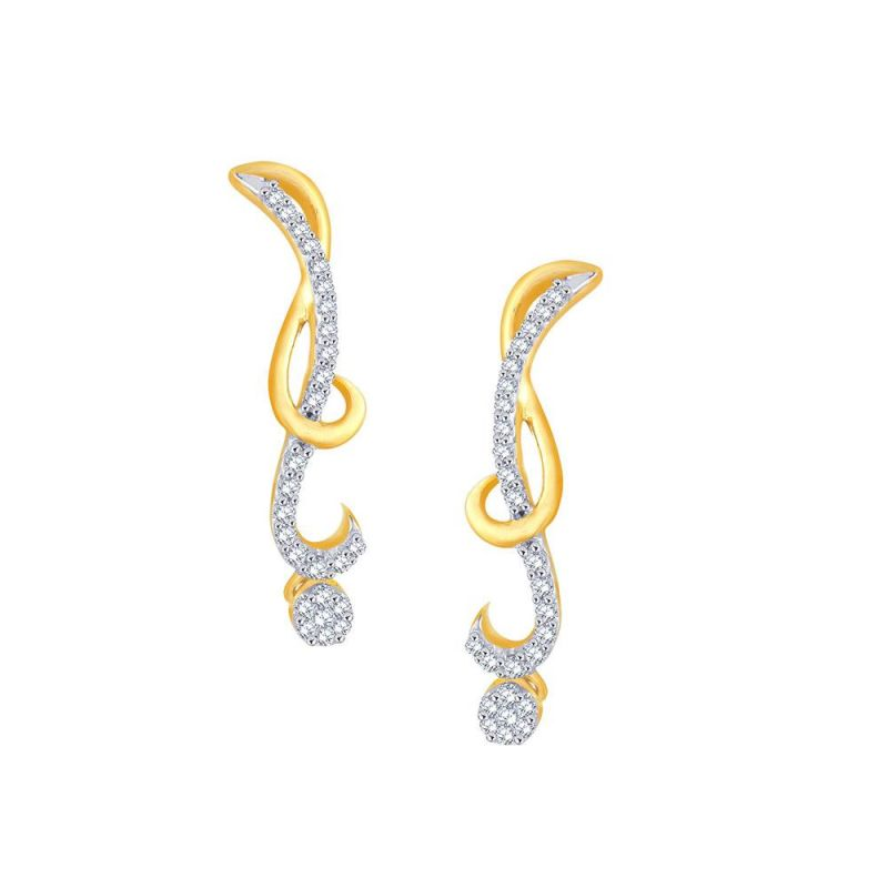 Buy Nirvana Yellow Gold Diamond Earrings De773si-jk18y online