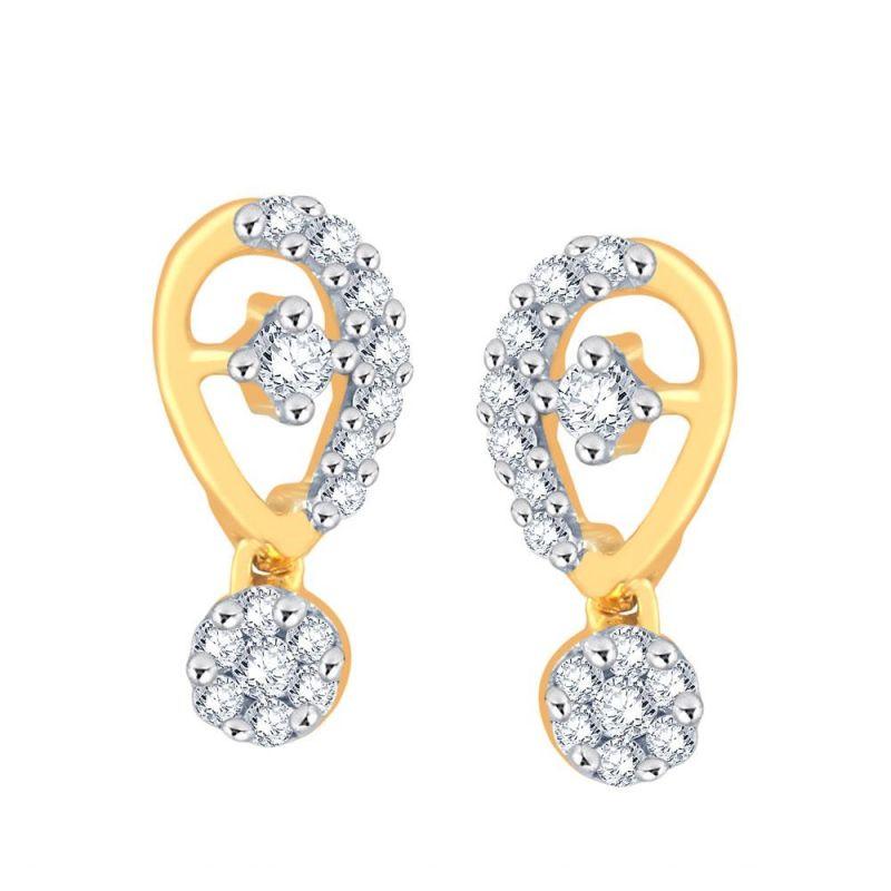 Buy Nirvana Yellow Gold Diamond Earrings online