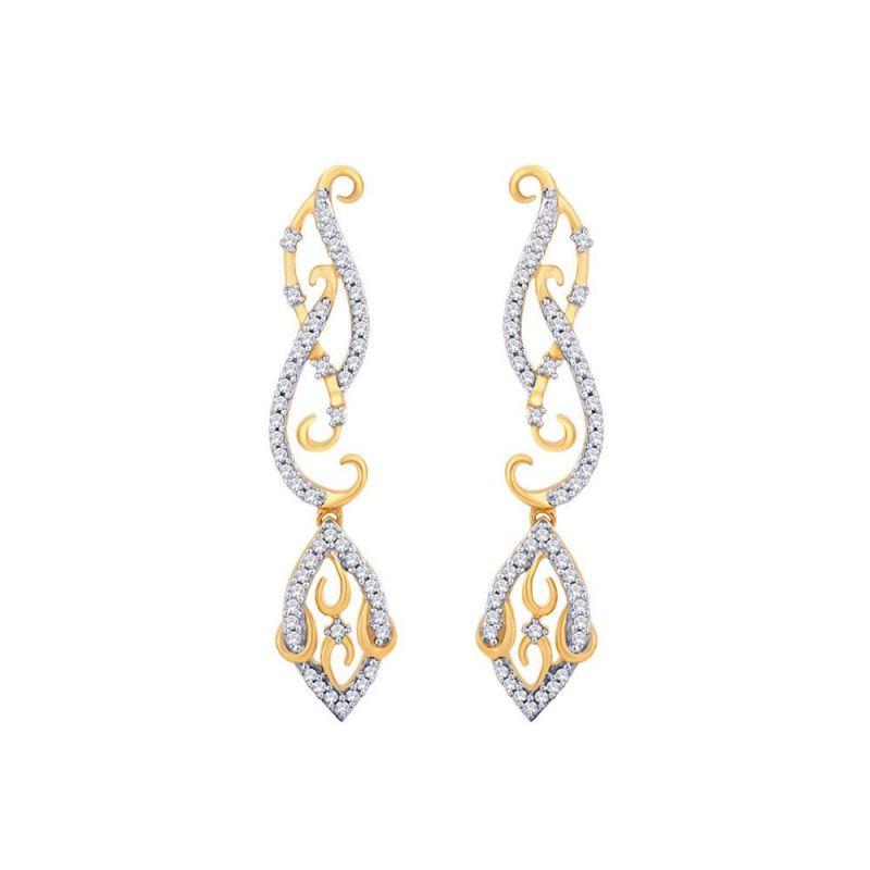 Buy Asmi Yellow Gold Diamond Earrings Ide00556si-jk18y online