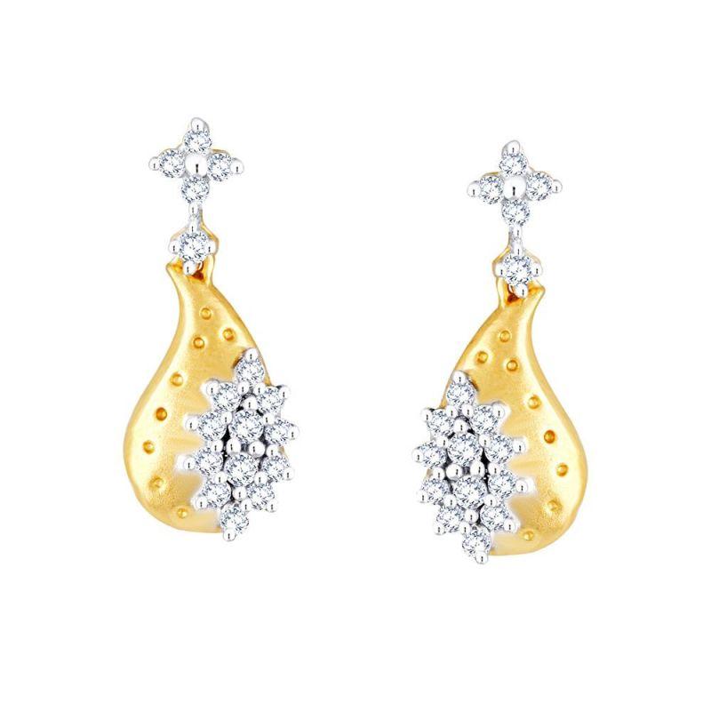 Buy Nirvana Yellow Gold Diamond Earrings Pe10951si-jk18y online