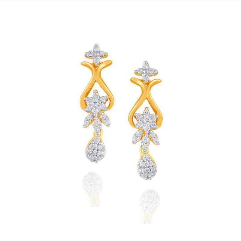 Buy Maya Diamond Yellow Gold Diamond Earrings Pe14502si-jk18y online