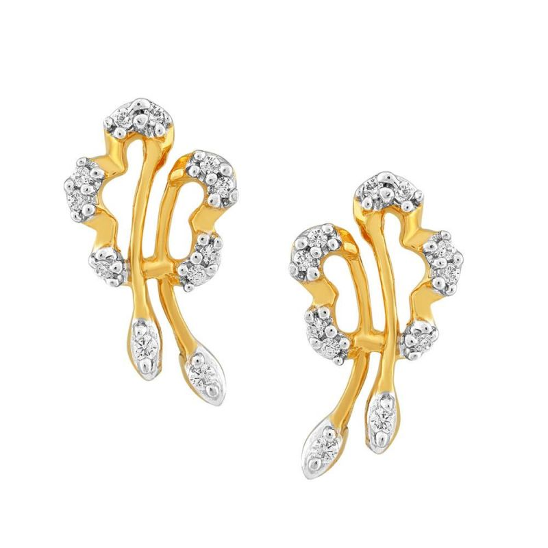 Buy Asmi Yellow Gold Diamond Earrings Pe16775si-jk18y online