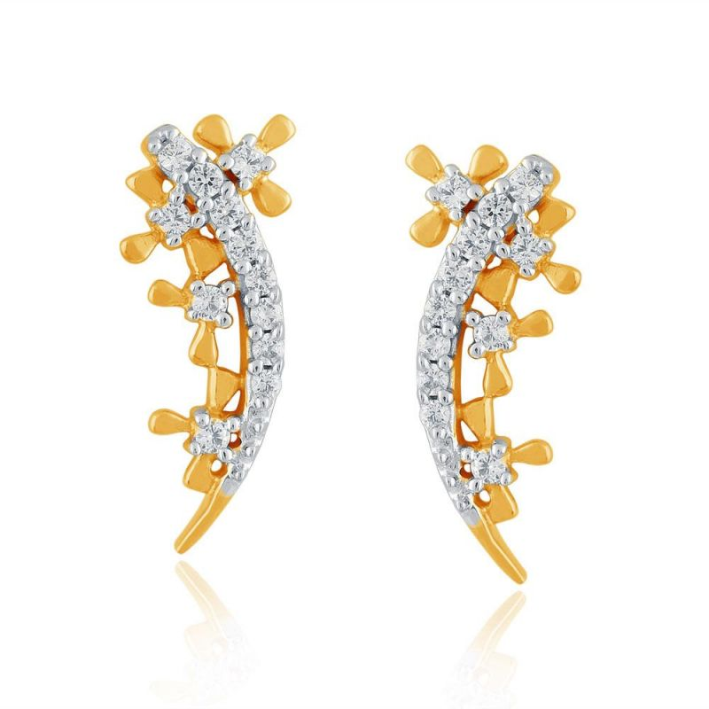 Buy Asmi Yellow Gold Diamond Earrings Pe17036si-jk18y online