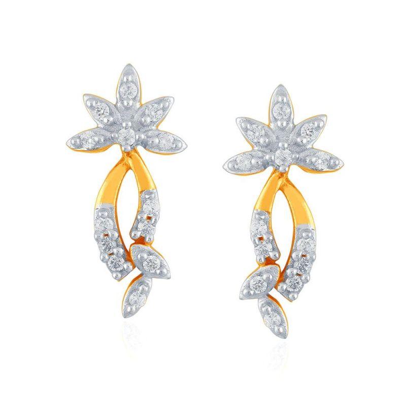 Buy Sangini Yellow Gold Diamond Earrings Pe17767si-jk18y online