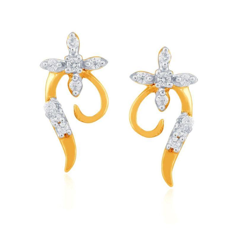 Buy Asmi Yellow Gold Diamond Earrings Pe18812si-jk18y online