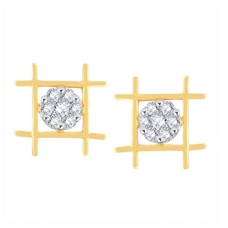 Buy Nirvana Yellow Gold Diamond Earrings Dne431si-jk18y online