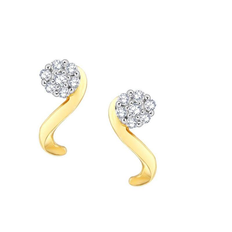 Buy Nirvana Yellow Gold Diamond Earrings Dse00050si-jk18y online