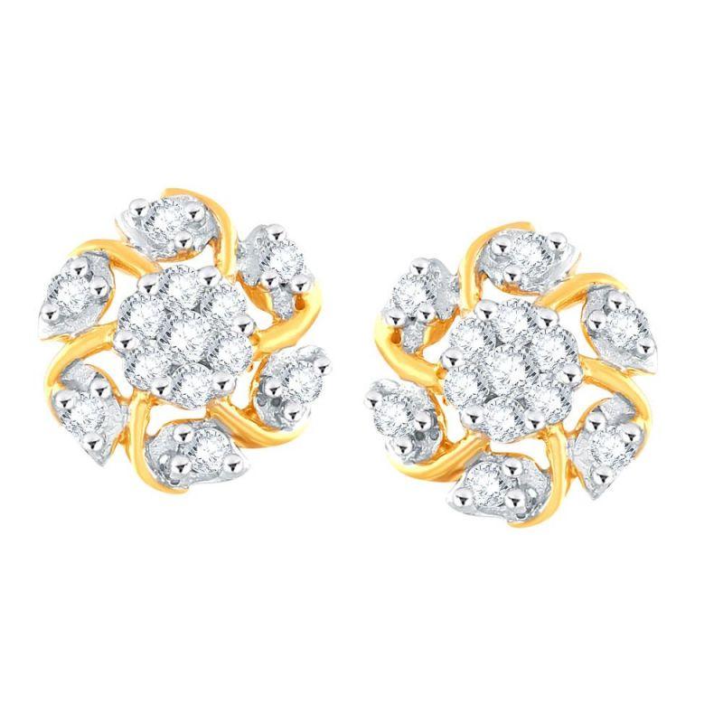 Buy Nirvana Yellow Gold Diamond Earrings Pe17390si-jk18y online