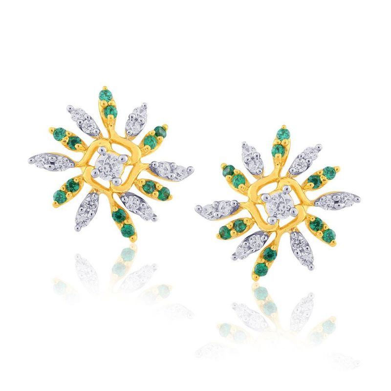 Buy Parineeta Yellow Gold Diamond Earrings Pran1e3624si-jk18y online