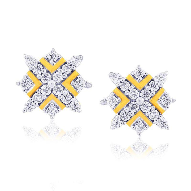 Buy Sangini Yellow Gold Diamond Earrings Pwdpse213si-jk18y online