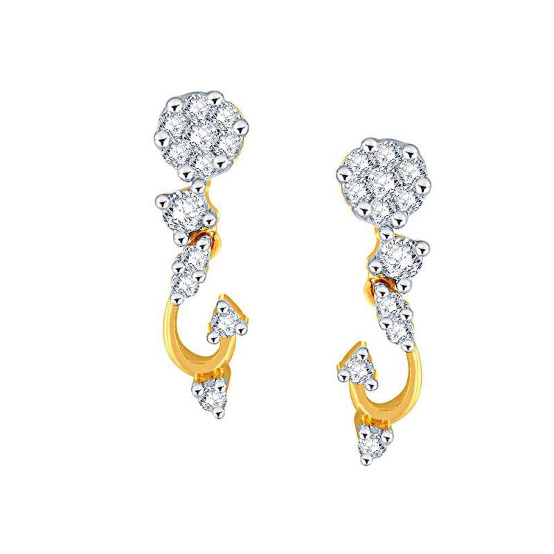 Buy Nirvana Yellow Gold Diamond Earrings Apse858si-jk18y online