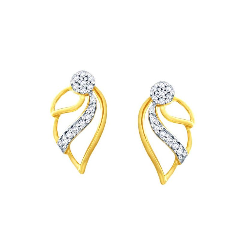 Buy Nirvana Yellow Gold Diamond Earrings Pem580si-jk18y online