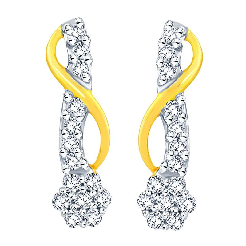Buy Nirvana Yellow Gold Diamond Earrings Ade01233si-jk18y online