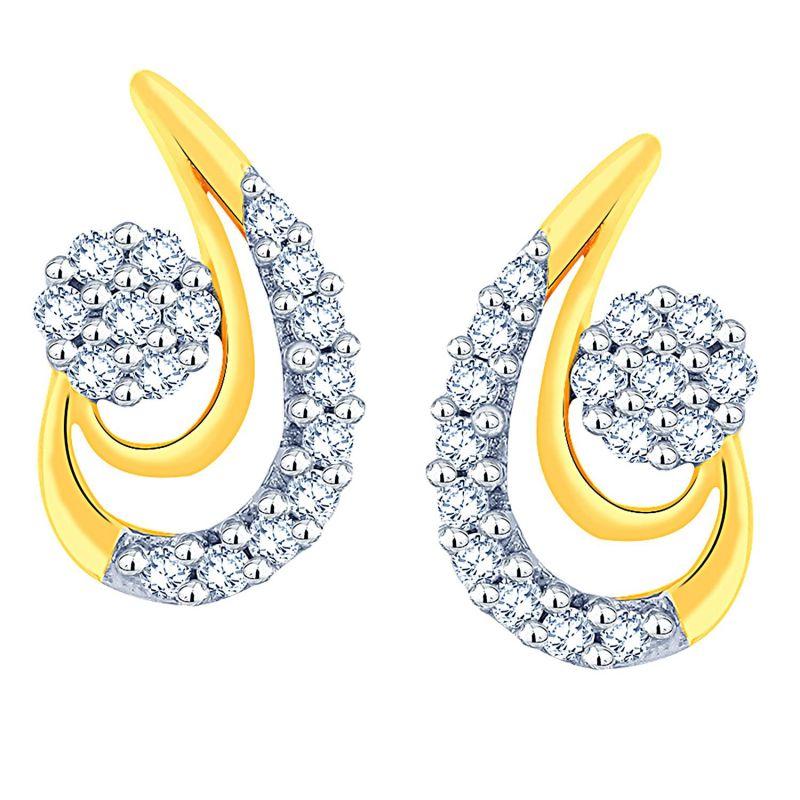 Buy Nirvana Yellow Gold Diamond Earrings Ade01250si-jk18y online
