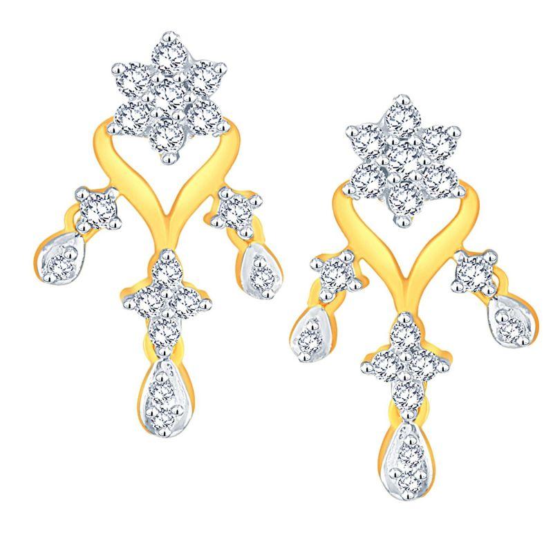 Buy Maya Diamond Yellow Gold Diamond Earrings Nterb019si-jk18y online