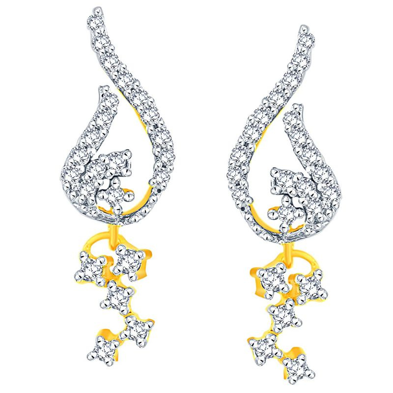 Buy Sangini Yellow Gold Diamond Earrings Pwdpse132si-jk18y online