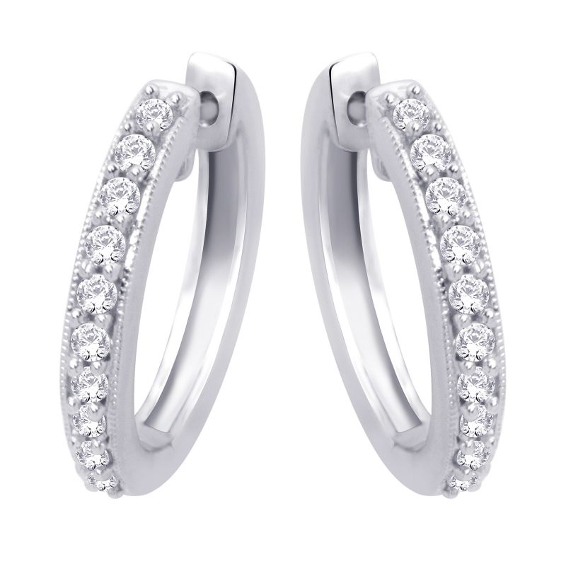 Buy Hoop Silver With Cz Diamond Silver Earring For Womens Ef4086 online