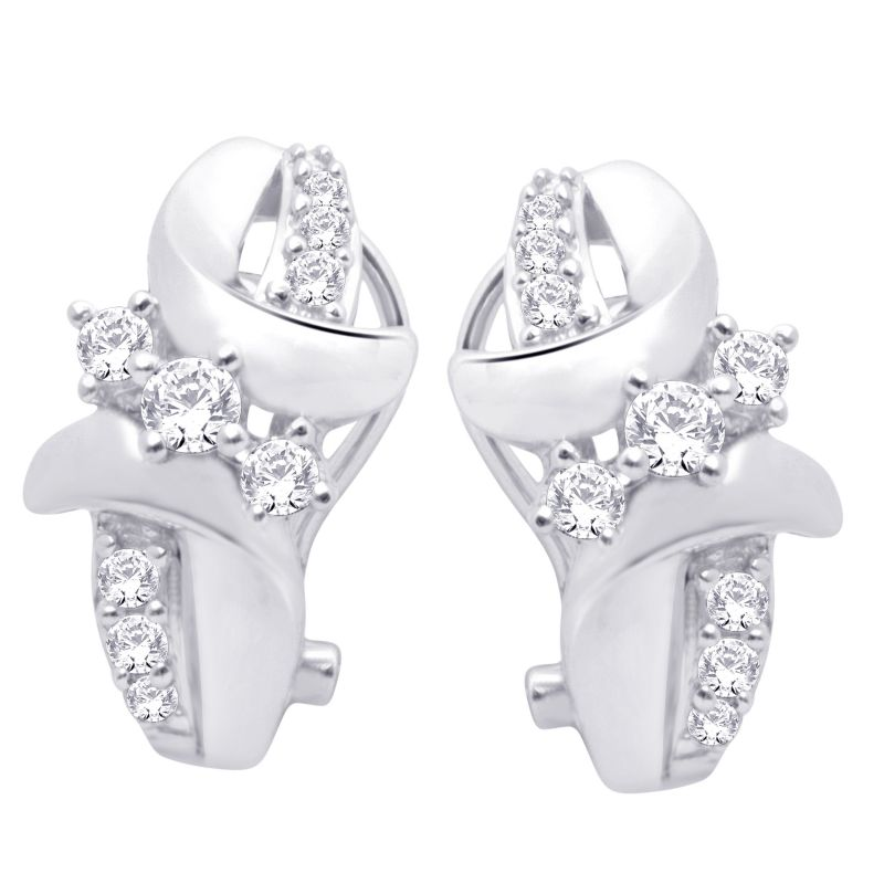 Buy Hoop Silver With Cz Diamond Silver Earring For Womens Ef4275 online