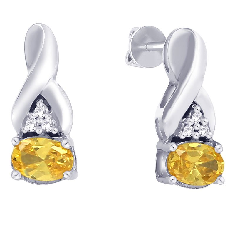 Buy Hoop Silver With Cz Diamond Yellow Earring For Womens online