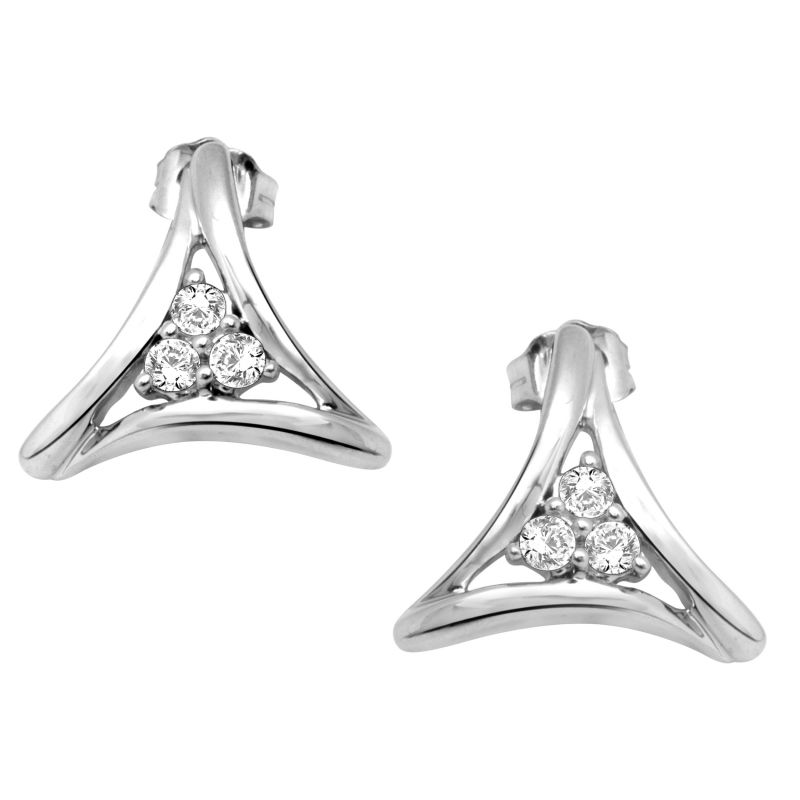 Buy Hoop Silver With Cz Diamond Silver Earring For Womens Ef4746 online