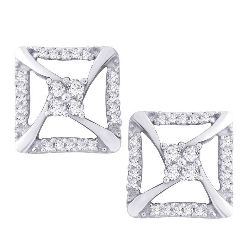 Buy Hoop Silver With Cz Diamond Silver Earring For Womens Ef4804 online