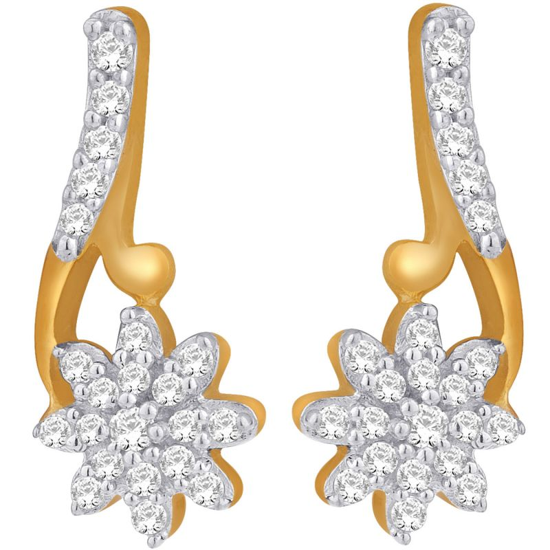 Buy Hoop Silver With Cz Diamond Gold Plated Earring For Womens Ef8626 online