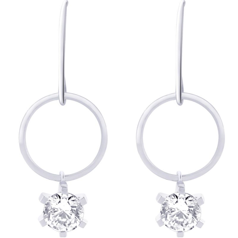 Buy Hoop Silver With Cz Diamond Silver Earring For Womens Ef8760 online