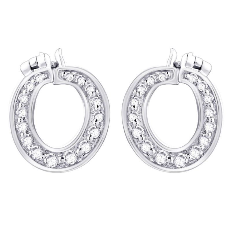 Buy Hoop Silver With Cz Diamond Silver Earring For Womens Ef8847 online