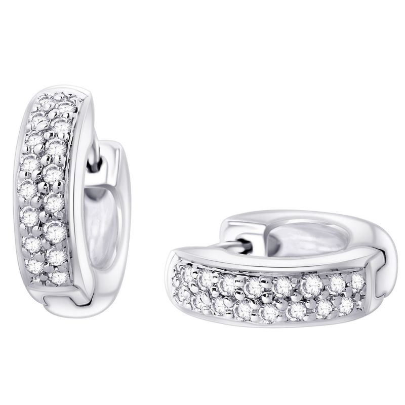 Buy Hoop Silver With Cz Diamond Silver Earring For Womens Ef8851 online
