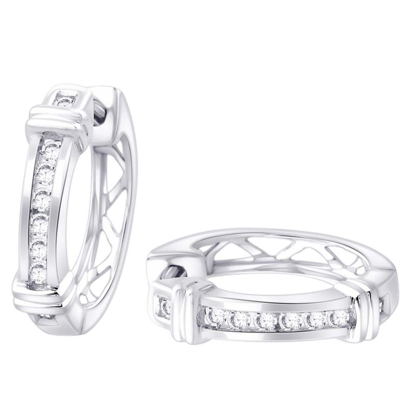 Buy Hoop Silver With Cz Diamond Silver Earring For Womens Ef8868 online