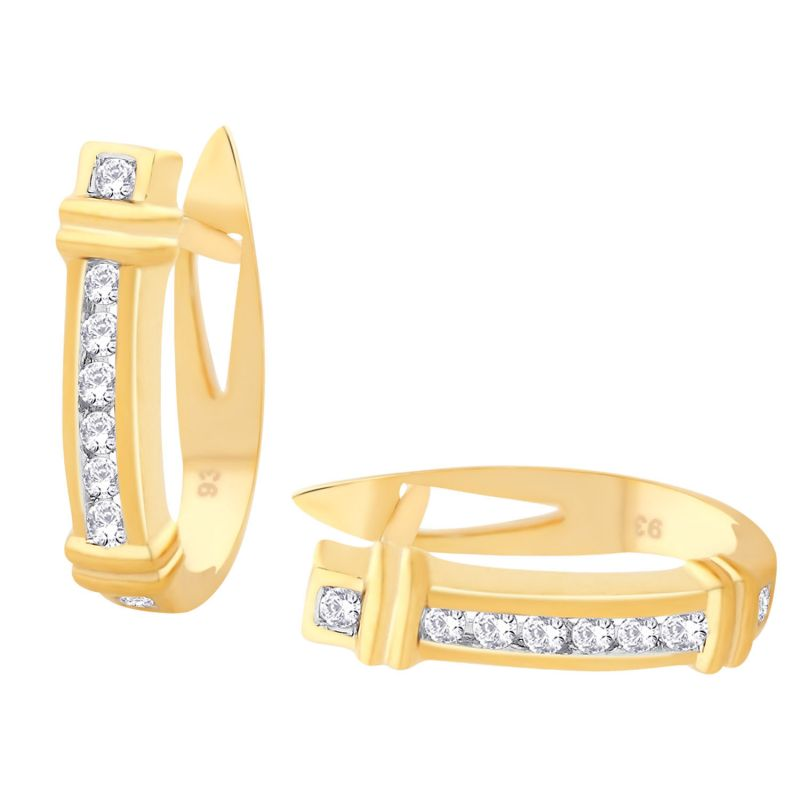 Buy Hoop Silver With Cz Diamond Gold Plated Earring For Womens online