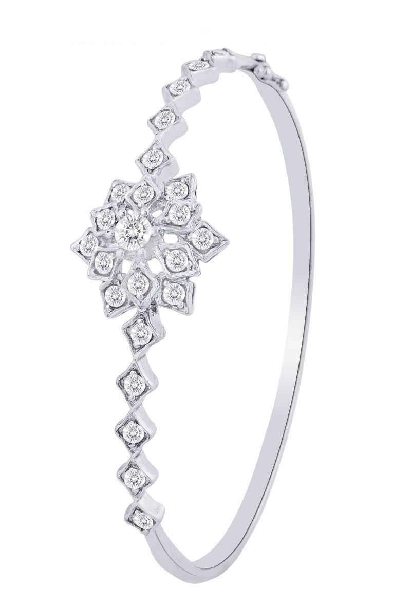 Buy Hoop Silver With Cz Diamond Silver Bangle For Womens Gf4588 online