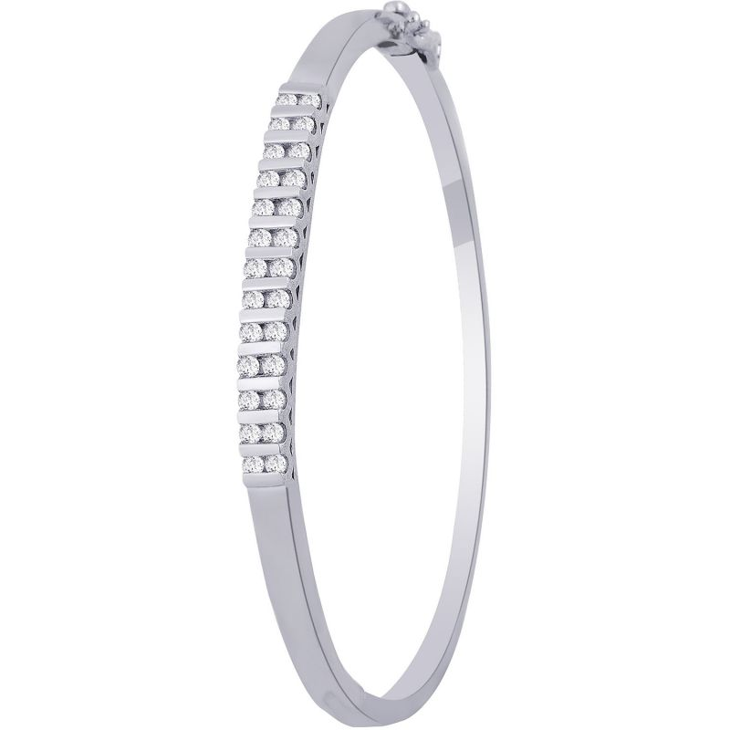 Buy Hoop Silver With Cz Diamond Silver Bangle For Womens online