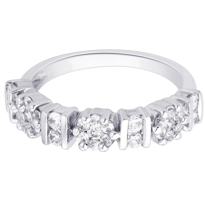 Buy Hoop Silver With Cz Diamond Silver Ring For Womens Rf4968 online