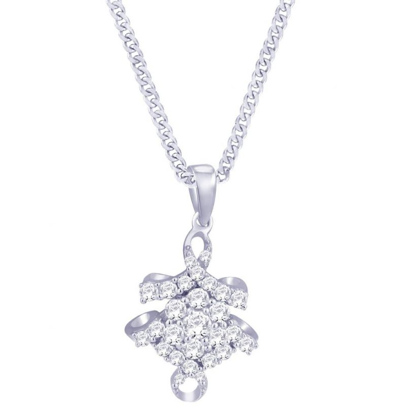 Buy Hoop Silver  Cz Diamond Silver Pendant For Women online