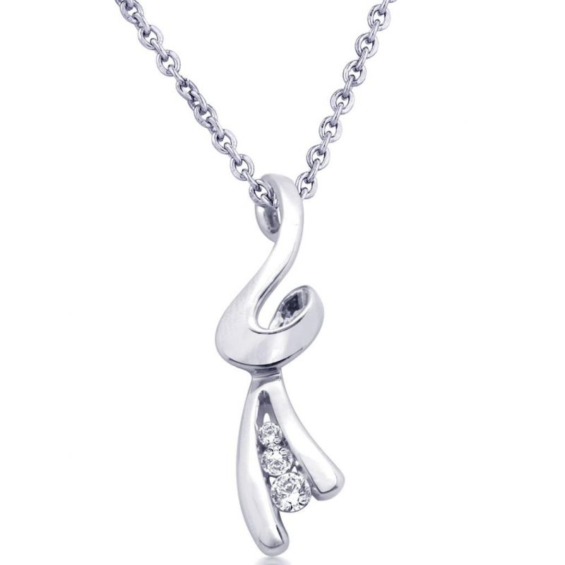 Buy Hoop Silver Cz Diamond Silver Pendant For Women Pf4648 online