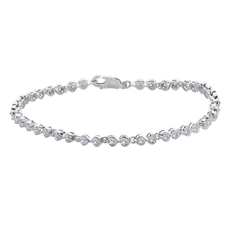 Hoop Silver With Cz Diamond Bracelet For Womens