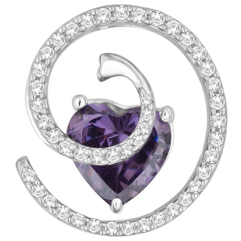 Buy Hoop Silver  Cz Diamond Purple Pendant For Women online