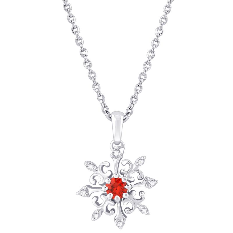 Buy Hoop Silver With Cz Diamond Red Pendant For Womens online