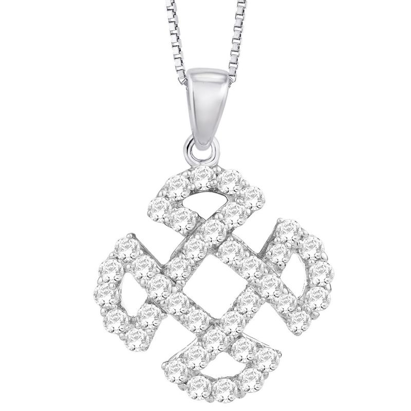 Buy Hoop Silver Cz Diamond Silver Pendant For Women Pf8942 online