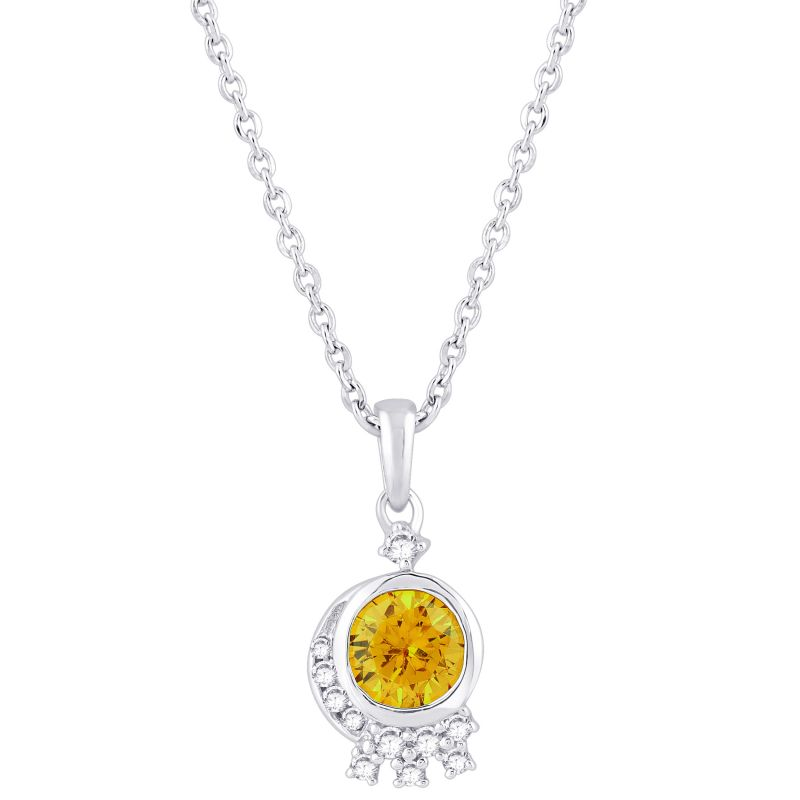 Buy Hoop Silver Cz Diamond Yellow Pendant For Women Pf8961 online