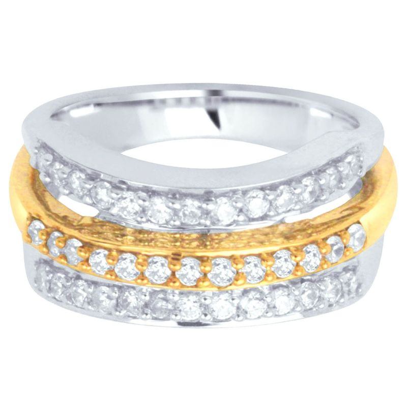 Buy Hoop Silver With Cz Diamond Gold Plated Ring For Women online