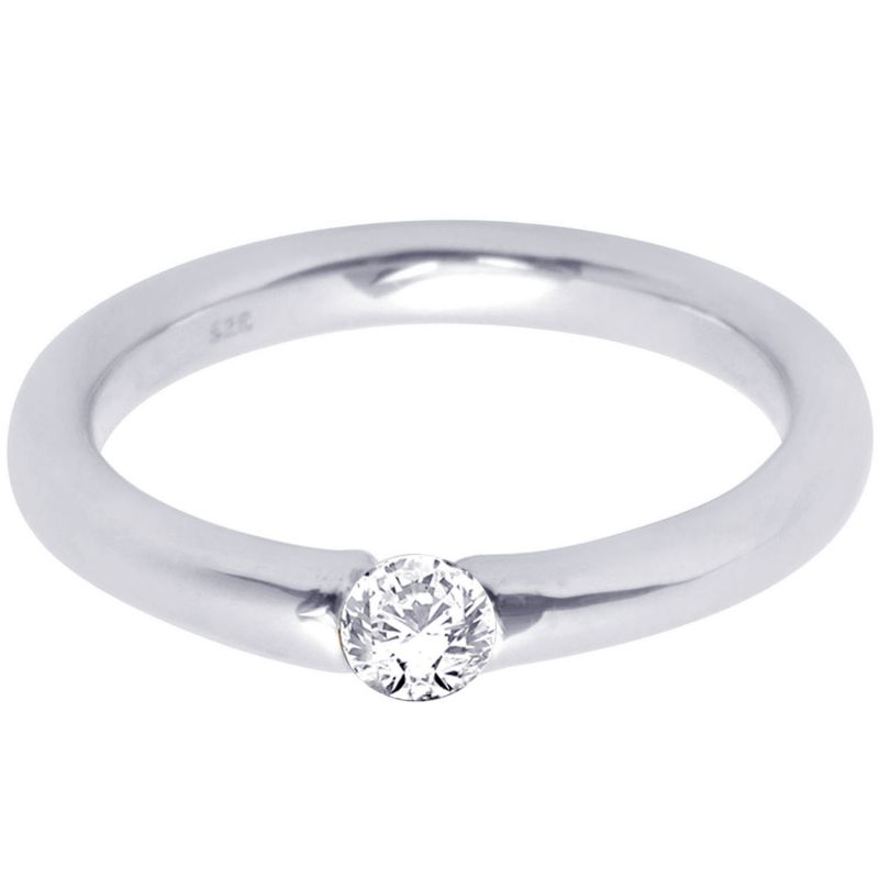 Buy Hoop Silver With Cz Diamond Silver Ring For Womens Rf4118 online