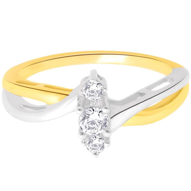 Buy Hoop Silver With Cz Diamond Gold Plated Ring For Womens Rf4147 online
